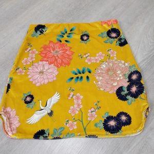 PrettyLittleThing velvety floral yellow mini skirt